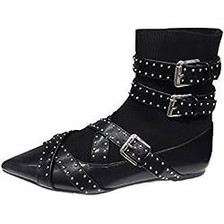 Zara Women Buckled flat sock ankle boots 6124/201 (41 EU | 10 US | 8 UK)