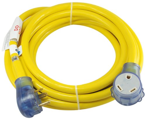 Conntek 14368 RV 30 Amp 25-Foot 10/3 Brilliant Yellow Extension Cord Straight Blade made our list of best quiet generators for camping and best small generators for camping