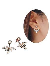 Elensan Fashion Gold Plated Leaf Crystal Ear Jacket Double Sided Swing Stud Earrings Gift