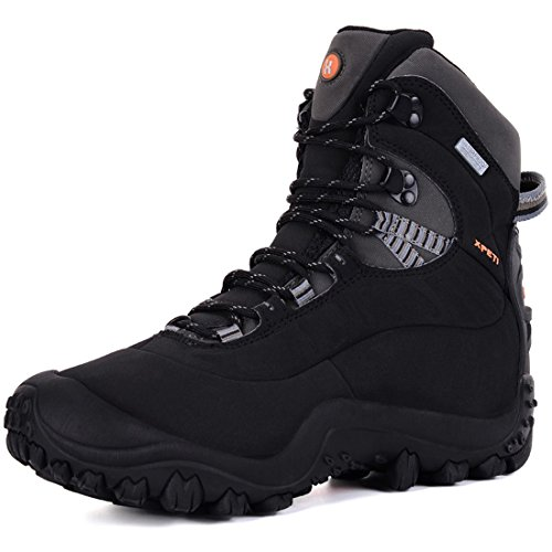 XPETI Men's Thermator Mid-Rise Waterproof Hiking Trekking Insulated Outdoor Boots Black 9.5 Hill Travels Comfortable Shoes