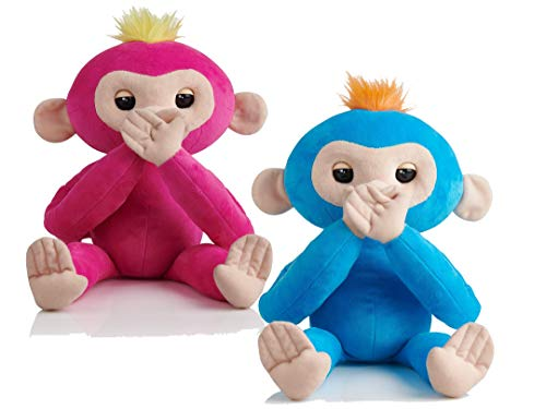 Interactive Boris (Blue) and Bella (Pink)- Advanced Plush Baby Monkey Pets - Sold as a Set - Hot Toy 2018