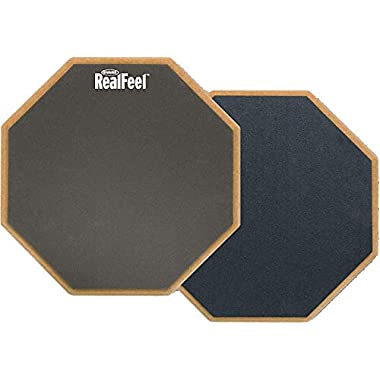 """Evans RealFeel 2-Sided Practice Pad – Practice Anytime, Anywhere – Dual-Sided for Different Practices – Quiet, Sturdy, Portable, Resists Wear and Tear - Available in 3 Sizes, 12"""""""