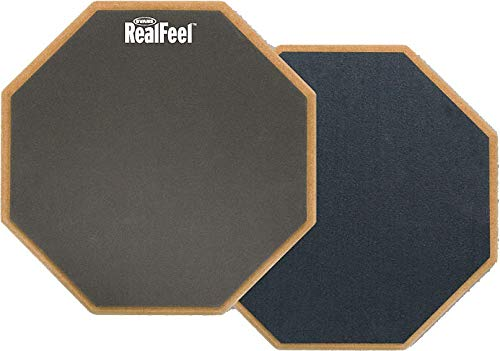 Evans RealFeel 2-Sided Practice Pad – Practice Anytime, Anywhere – Dual-Sided for Different Practices – Quiet, Sturdy, Portable, Resists Wear and Tear - Available in 3 Sizes, 12""