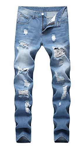 - OKilr Pjik Men's Washed Stretch Distressed Slim Fit Ripped Fashiom Jeans Light Blue