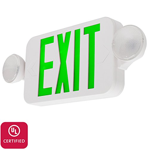 (LFI Lights - UL Certified - Hardwired Green Compact Combo Exit Sign Emergency Light - COMBOGJR)