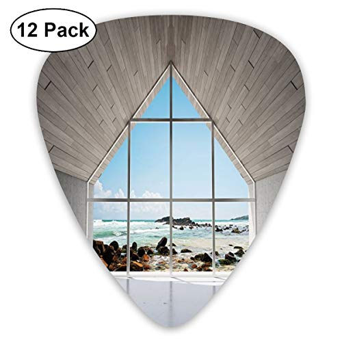 Guitar Picks 12-Pack,Modern Calm Relaxing Lounge With Sea Ocean Coastal Scenery View Print (Lounges Coastal)