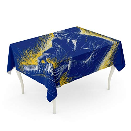 Tarolo Rectangle Tablecloth 60 x 90 Inch African Pianist Plays The Piano Abstract Line Festival Color American Artist Black Blues Table Cloth ()