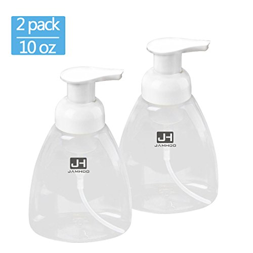 Foaming Soap Dispenser Pump Empty Bottles Hand Soap Liquid Containers - 300ml (10 oz) Set of 2 Foaming Soap Refill Perfect for Castile Liquid Soap By JamHoo (2)