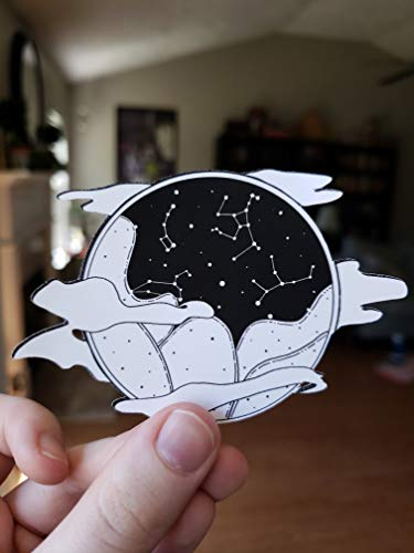 (Black and White Constellation Landscape Weatherproof Sticker )