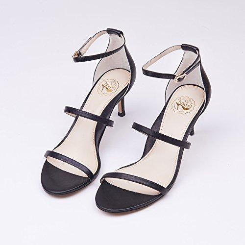 De Sandalias Una Zapatos Con Blanco Negro Verano Rojo Fino Femenino SHOESHAOGE Tacón Palabra sólido Color De Tacón H0W8vSpp
