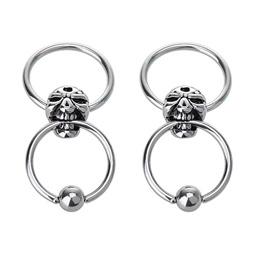 IPINK Pair of Skull Nipple Rings Dangle 16G Captive Bead Rings 316L Surgical Steel - Sold as Pair ()