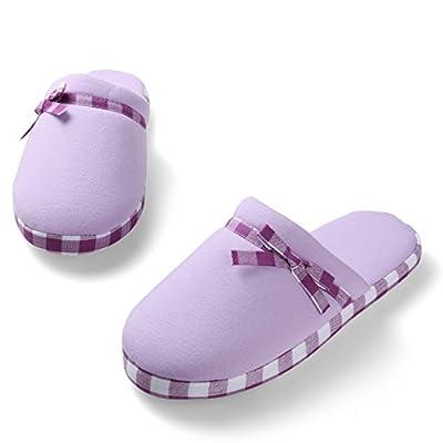 Amazon.com | Aerusi Women's Cute Bowknot Stripe Trim Cozy Plush Fleece House Slip On Slipper | Slippers
