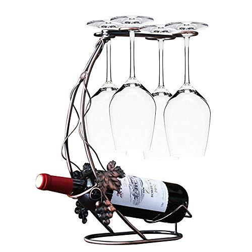 (Wine Storage Organizer Display Rack Grapevine Design Copper Color Wine Rack Metal Freestanding Tabletop Stemware Storage Rack Wine Glass Cup Holder For 4 Glasses And 1 Wine Bottle Home Kitchen Bar Déc)