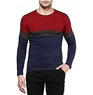 2ff20bf3149 Urbano Fashion Men's Cotton Color-Block Round Neck Full Sleeve T ...