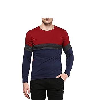 2f6369dd Urbano Fashion Men's Maroon, Charcoal Grey, Navy Blue Round Neck ...