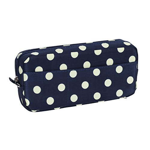 sprucebay-polka-dot-case-with-zippered-top-8-inch-x-4-inch-vintage-blue-off-white