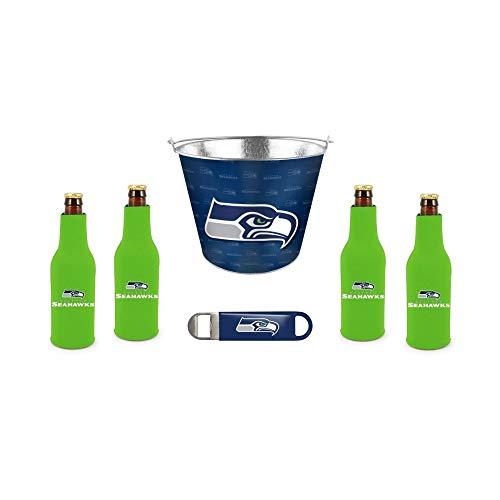 (Seahawks - 5 Quart Beer Bucket, Bottle Suit (4) and Opener Set | Seattle Seahawks Beer Bucket Gift Set)