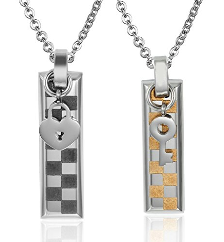 Gnzoe Jewelry, Women Stainless Steel Dog Tag Heart Lock Key Pendant Necklace