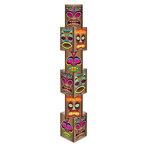 Beistle 54073 Tiki Column, 12-Inch by 5-Feet 71/4-Inch, 12inx5ft 7-1/4in, Multicolored