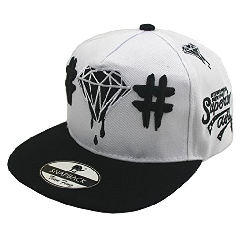 Bayto Fashion New Snapback Hats Unisex Diamond Baseball Cap White Canvas Bboy Hat