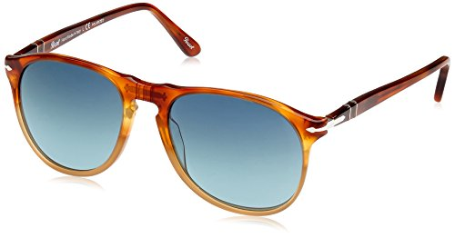 Persol Mens Sunglasses (PO9649S (55)) Brown/Blue Acetate - Polarized - - Lenses Polarized Persol