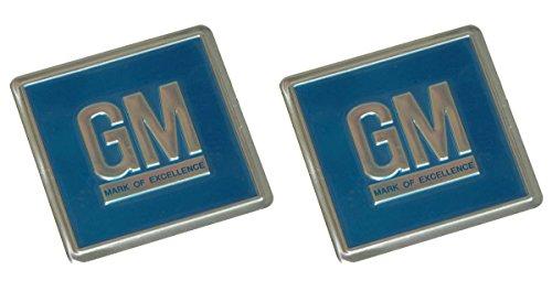 Blue Lock Badge (69-72 GM Embossed Metal Door Jamb Adhesive Decal Badge Foil Sticker Blue 3M 2pc (File-1-2))