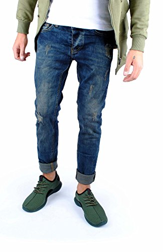 FiveSix Herren Slim-Fit Used-Look Denim Destroyed-Look Regular-Fit Biker  Zerrissen Jeans Hose Blau-4 EU 36/32: Amazon.de: Bekleidung
