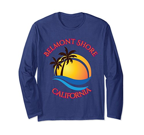 Unisex Belmont Shore Beach Surf Long Sleeve T-Shirt Calif Tee Shirt Medium - Shore Belmont
