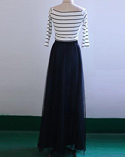Damen Streifen Kleider Schulterfrei Partykleider Sommerkleid Maxi ...