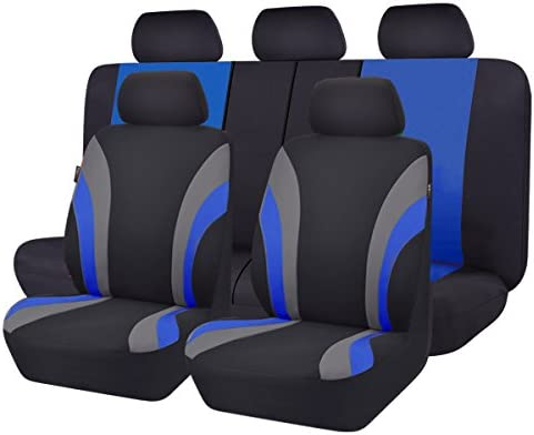 CAR PASS Line Rider 11PCS Universal Fit Car Seat Cover -100% Breathable with 5mm Composite Sponge Inside,Airbag Compatible(Black and Blue)