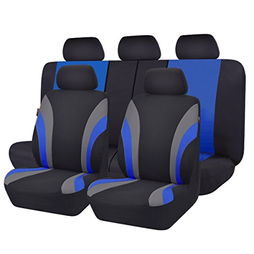 (NEW ARRIVAL- CAR PASS Line Rider 11PCS Universal Fit Car Seat Cover -100% Breathable With 5mm Composite Sponge Inside,Airbag Compatible(Black And)