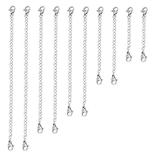 (Naler 10 Pieces Silver Plated Necklace Bracelet Extender Chain Set for DIY Jewelry Making)