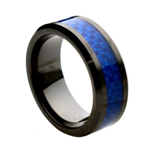 Ceramic with Blue Carbon Fiber Inlay 8mm Wedding Band Ring, 14 Size