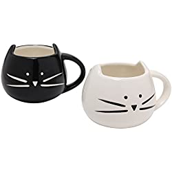 Black & White Lovely Cute Cat Coffee Tea Milk Ceramic Mugs Cups , Set of 2