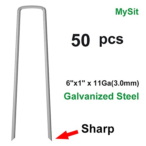 MySit 50x 6-Inch Galvanized Ground Garden Staples Stakes Pins, Lawn Landscape Staples Weed Fabric Staple, Heavy-Duty 11 Gauge Anti-Rust Steel Sod Anchor Securing Pegs(SodStaple_11Ga_AR50)