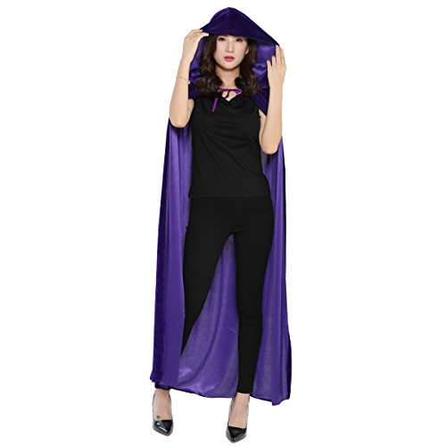 Cloak with Hood Costume Hooded Cape Crushed Velvet for Men Women (43-66inches) Purple