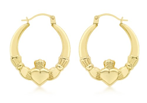 Carissima Gold 9 ct Or jaune Claddagh Earrings