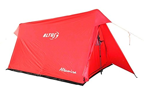 Altamira feat Roble ALTUS OUTDOOR Zelt 2 Personenzelt Firstzelt 1350 Gramm mit Trekkingpoles statt Zeltstangen