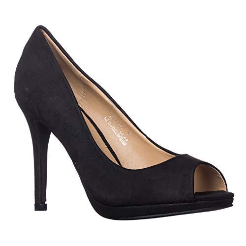 Riverberry Women's Julia Slight Platform Open Toe High Heel Pumps, Black Suede, 10 (Toe Pumps Platform Peep Suede)