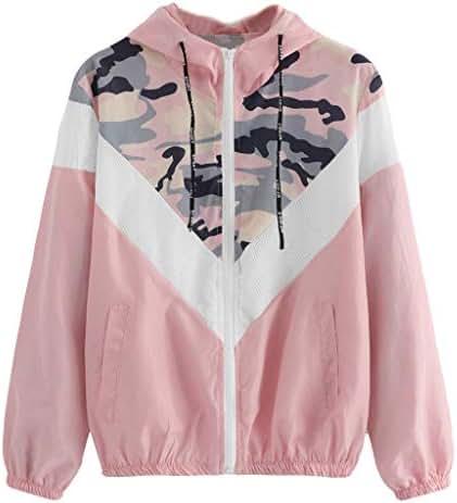 NOMUSING Sweatshirt for Women with Zipper Hood and Pockets Drawstring Printing Hat Long Sleeves Tops Loose Coat Blouse