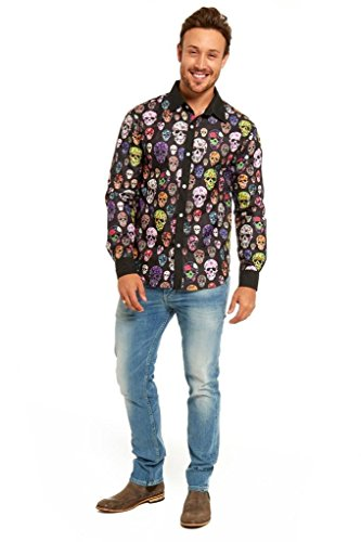 YOU LOOK UGLY TODAY Men's Halloween Stylish Funny Dress-up Party Shirt Blouse Skull Plant-Large (Halloween Looks)