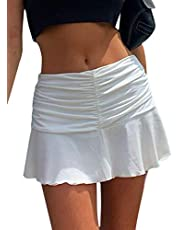 SAFRISIOR Women Y2K Ruched Ruffle Short Skirt High Waisted Stretch Pleated Tennis E-Girls 90s A-Line Mini Skirt