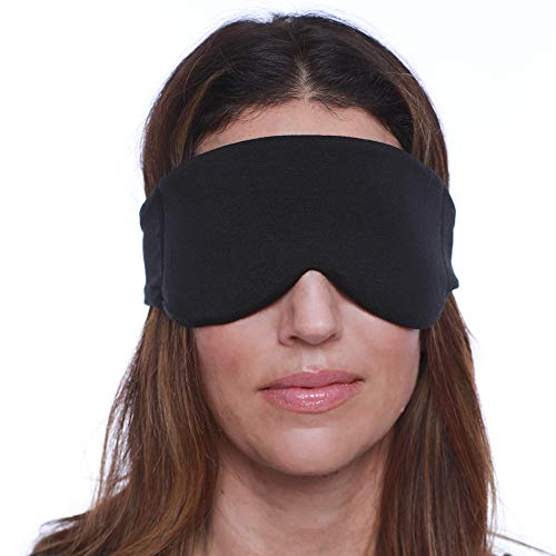 HappyLuxe Escape Sleeping Mask, Soft Luxurious Fabric, Improves Sleep, Reduces Flight Fatigue, Great for Travel. Sustainably made in the USA. (Jet Black)
