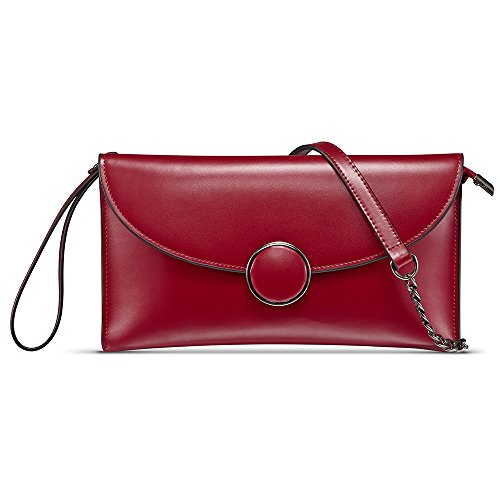CHITUMA (New Fashion) Women's Luxury Genuine Leather Classical Evening Party Clutch Bag Shoulder Bag Simple Bag Wallet Handbag (Small, Red) Red Luxury Leather