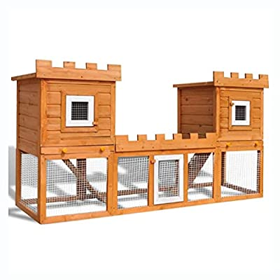K&A Company Small Animal Habitat & Cage, Outdoor Large Rabbit Hutch House Pet Cage Double House