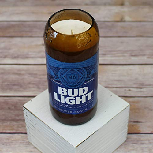 NEW Bud Light Glass Beer Bottle Soy Candle with Custom Scent -