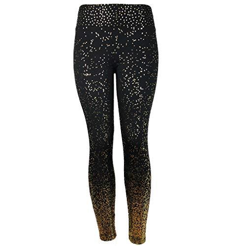 Kaicran Yoga Pants,Women's High Waist Bling Dots Gym Fitness Sports Running Workout Leggings (Black, L)