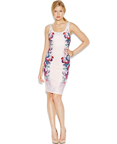 UPC 888951642018, Guess Women's Scoop Neck Bodycon Dress, Wildflowers Pink, X-Large