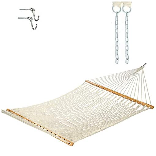 Garden and Outdoor Castaway Living 13 ft. Double Traditional Hand Woven Cotton Rope Hammock with Free Extension Chains & Tree Hooks… hammocks