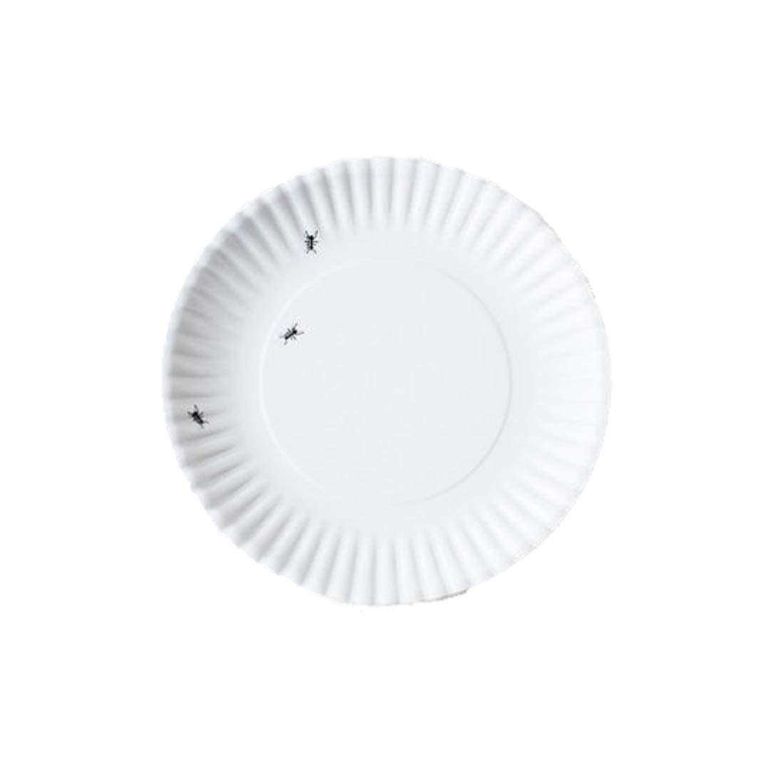 """""""What Is It?"""" Larger Size 11-inch Reusable White Dinner Plate with Ant Design, Melamine, Set of 4"""